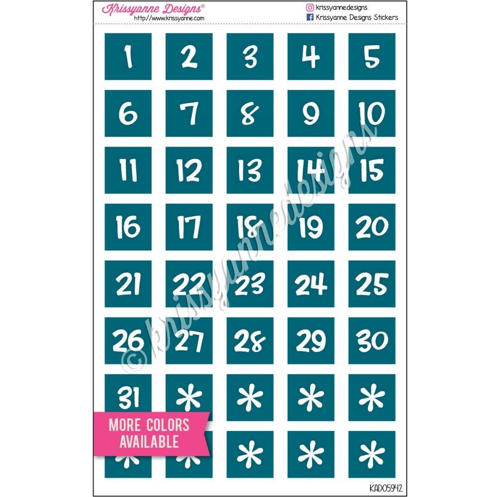 Monochrome Number Squares - Gemtones