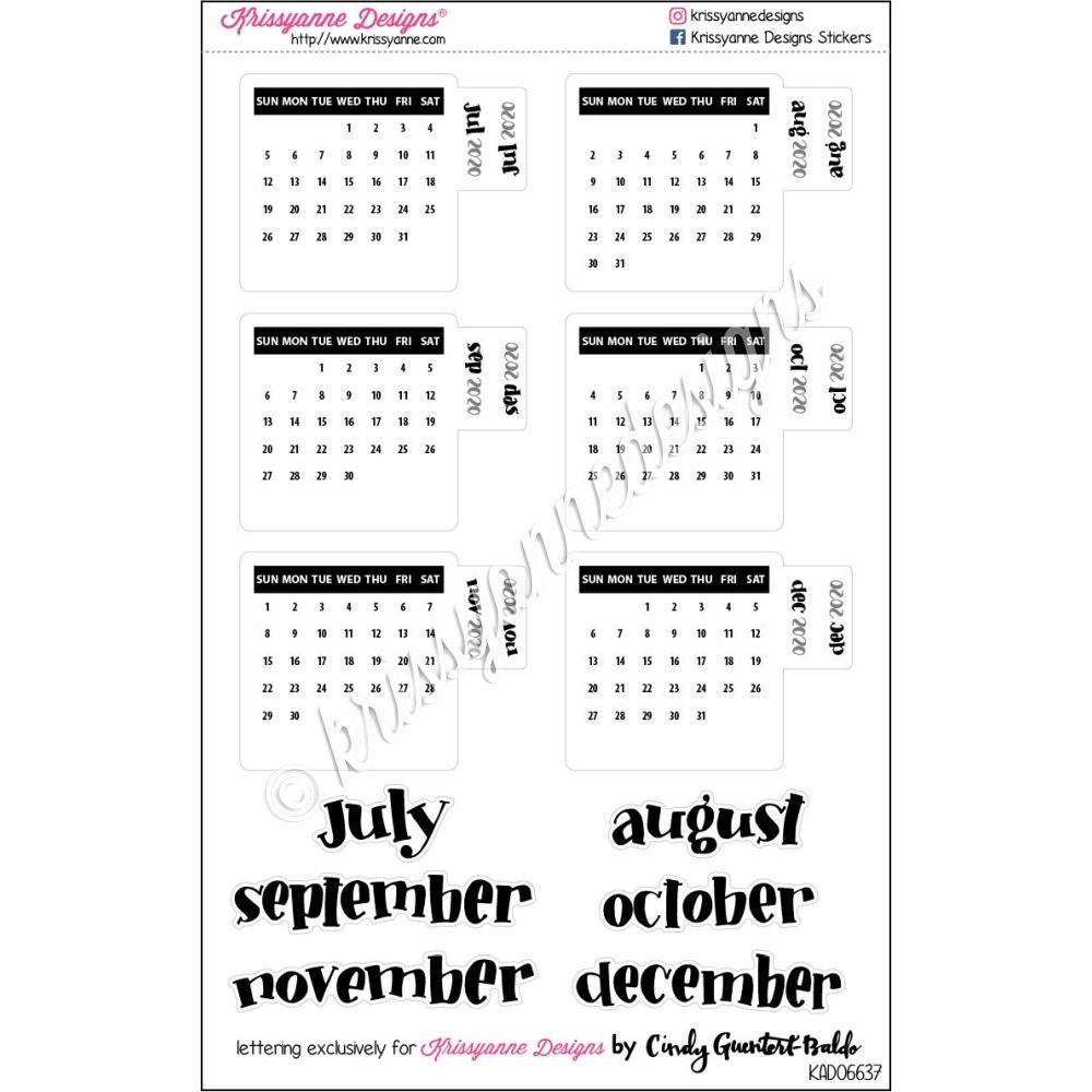 Calendar December 2020.Small Monthly Calendar Tabs July December 2020