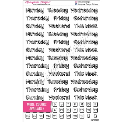 Days of the Week Shadow Script Sampler - Set of 69
