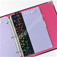 KAD Binder Bookmark - Midnight Rainbow Doodle Hearts Ruler