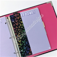 KAD Binder Bookmark - Midnight Rainbow Doodle Hearts