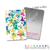 Rectangle Metal Bookmark - Rainbow Paint Splatter
