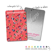 Customized Rectangle Metal Bookmark - Coffee Doodles