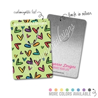 Customized Rectangle Metal Bookmark - Heart Doodles