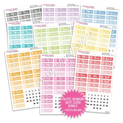 Monochrome Script Date Cover Bundle - Pastel Rainbow