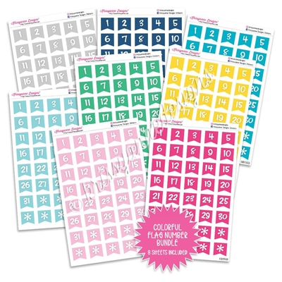Monochrome Number Flag Bundle - Colorful