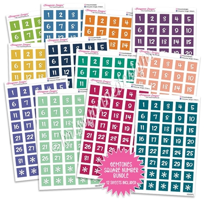 Monochrome Number Square Bundle - Gemtones
