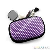 One Sided Zippered Pouch - Monochrome Stripes