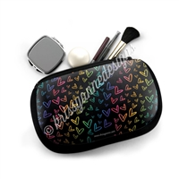 Cosmetic / Device Pouch - Midnight Rainbow Doodle Hearts