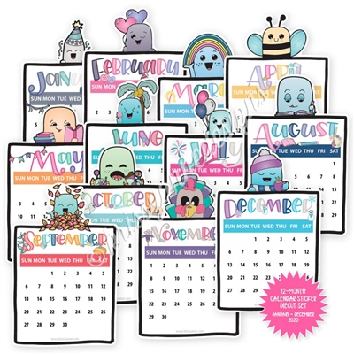 2020 Calendar Diecut Sticker Set