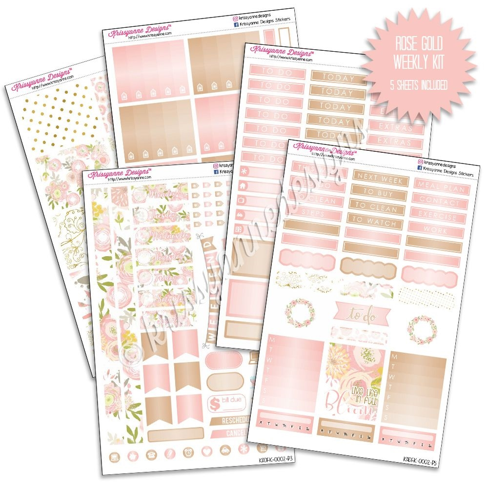 Kad Weekly Planner Kit Rose Gold Floral