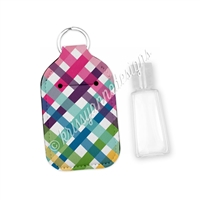 Rectangle Sanitizer Keychain - Punny Love Plaid