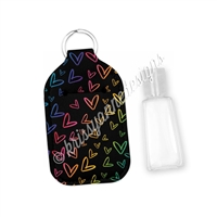 Rectangle Sanitizer Keychain - Midnight Doodle Hearts