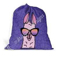 Drawstring Laundry Bag - Sunset Llama