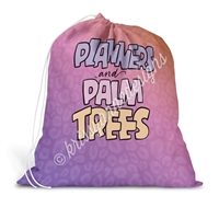Drawstring Laundry Bag - Planners & Palm Trees