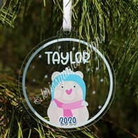 Acrylic Ornament - Personalized Winter Bear Ornament