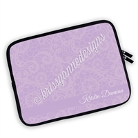 One Sided Zippered Personalized Planner Pouch - Lavender Lace