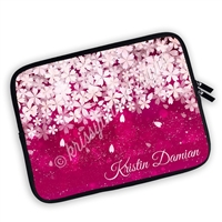 One Sided Zippered Personalized Planner Pouch - Deep Pink Sakura