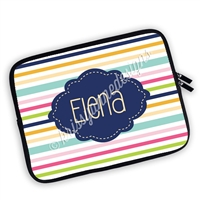 One Sided Zippered Personalized Planner Pouch - Stripes