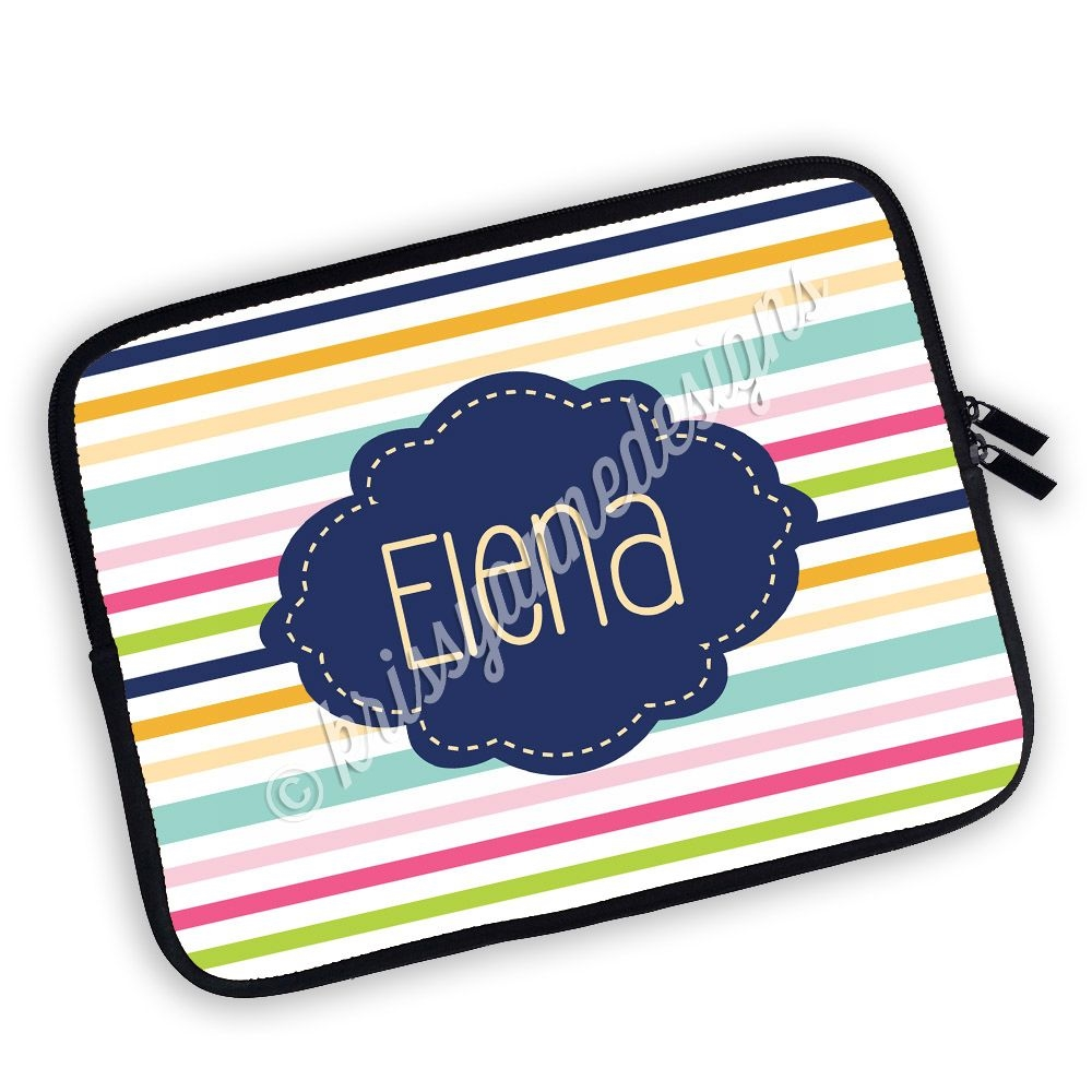 one sided zippered personalized planner pouch stripes