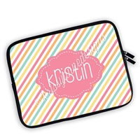 One Sided Zippered Personalized Planner Pouch - Candy Stripes
