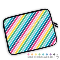 One Sided Zippered Planner Pouch - Rainbow Stripes
