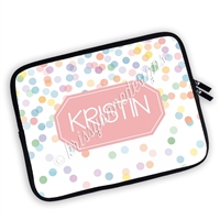 One Sided Zippered Personalized Planner Pouch - Happy Dots