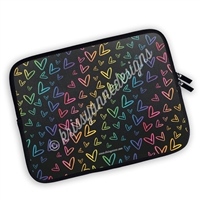 Zippered Planner Pouch - Midnight Rainbow Doodle Hearts