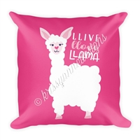 18x18 Throw Pillow - Llive Llove Llama