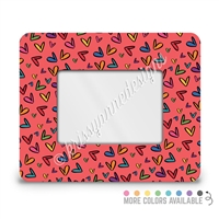 Rectangle Picture Frame - 4x6 - Colored Doodle Hearts