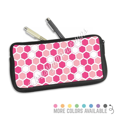 One Sided Zippered Pen Pouch - Hexagons