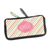 One Sided Zippered Pen Pouch - Candy Stripes