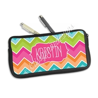 One Sided Zippered Pen Pouch - Bright Chevron