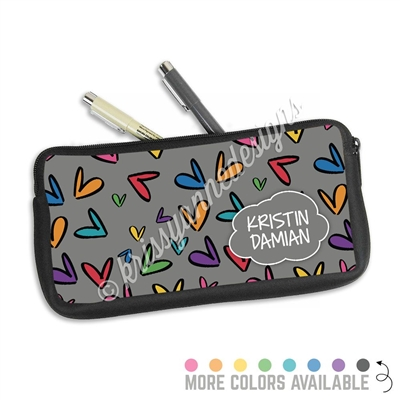 One Sided Zippered Pen Pouch - Doodle Hearts