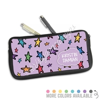 One Sided Zippered Pen Pouch - Doodle Stars