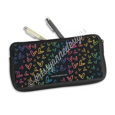 Zippered Pen Pouch - Midnight Rainbow Doodle Hearts
