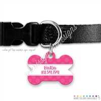 KAD Bone Shaped Pet Tag - Polka Dots