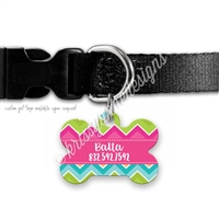 KAD Bone Shaped Pet Tag - Bright Chevron