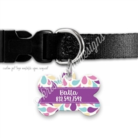 KAD Bone Shaped Pet Tag - Paisley Splash