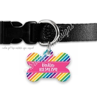 KAD Bone Shaped Pet Tag - Bold Rainbow