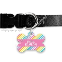 KAD Bone Shaped Pet Tag - Pastel Rainbow