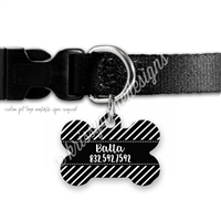 KAD Bone Shaped Pet Tag - Black and White