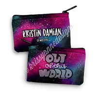 Two Sided Zippered Coin Pouch - Out of This World