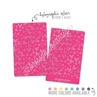 KAD Washi Card - Silver Holographic Doodle Hearts