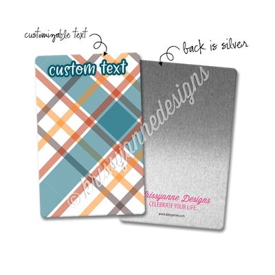 Personalized Rectangle Metal Washi Card - November Plaid