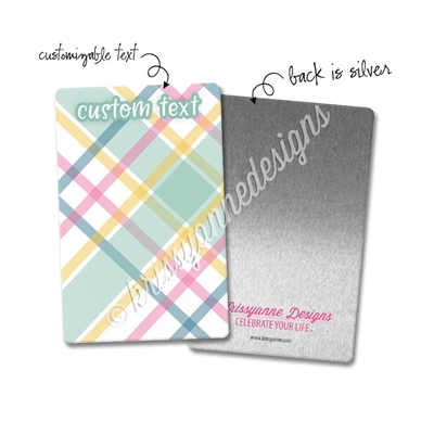 Personalized Rectangle Metal Washi Card - December Plaid