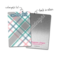 Personalized Rectangle Metal Washi Card - March Plaid