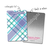 Personalized Rectangle Metal Washi Card - May Plaid