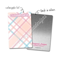 Personalized Rectangle Metal Washi Card - June Plaid
