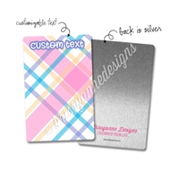 Personalized Rectangle Metal Washi Card - July Plaid